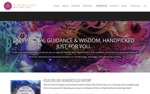 Screenshot of Products Page numerologist.com - Personalized Readings & Programs To Boost Your Abundance - captured Sept. 22, 2018