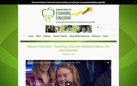 Screenshot of Press Page ccee.net - In the News — Colorado Council for Economic Education - captured Nov. 9, 2016