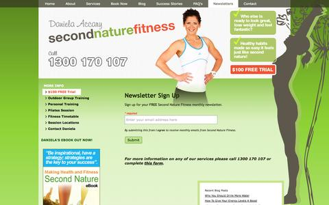 Screenshot of Signup Page secondnaturefitness.com - Personal training, outdoor group sessions and Pilates in Melbourne, Richmond | Newsletter Sign Up | Second Nature Fitness - captured Sept. 30, 2014