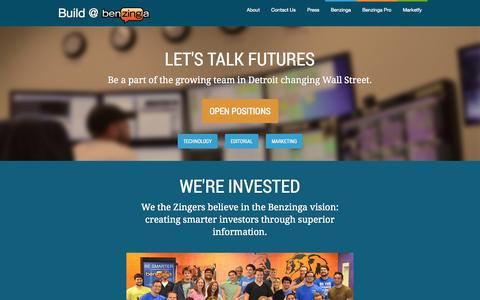 Screenshot of Jobs Page benzinga.com - Benzinga Careers - captured Sept. 13, 2014