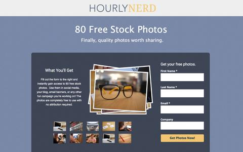 Screenshot of Landing Page hourlynerd.com - 80 Free Quality Stock Photos - captured Dec. 17, 2015
