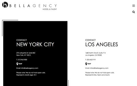 Screenshot of Contact Page bellaagency.com - Contact | Bella Agency New York - captured Sept. 22, 2018