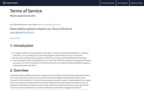 Screenshot of Terms Page publicstuff.com - PublicStuff - captured Feb. 27, 2016