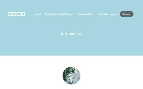 Screenshot of Testimonials Page coco.ie - Testimonials - Coco - captured Sept. 28, 2018