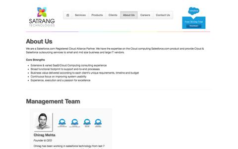 Screenshot of About Page satrangtech.com - Satrang Technologies - About Us - captured Feb. 3, 2016