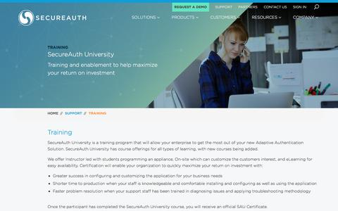 Screenshot of Support Page secureauth.com - SecureAuth University | SecureAuth - captured March 4, 2018