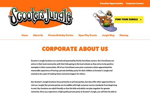 Screenshot of About Page scootersjungle.com - Learn about Scooter's Jungle|Children's Party Event Venue - captured Nov. 6, 2018