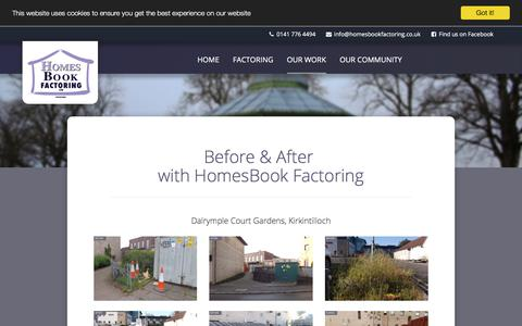 Screenshot of Case Studies Page homesbook.co.uk - Our Work | Property Factoring Services based in Kirkintilloch, East Dunbartonshire covering Glasgow, Bishopbriggs, Lenzie and surrounding areas - captured July 21, 2018