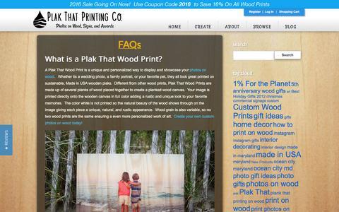 Screenshot of FAQ Page plakthat.com - FAQs - Plak That | Photos on Wood - captured July 13, 2016