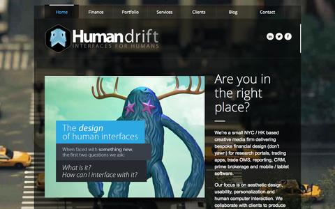Screenshot of Home Page humandrift.com - Human Drift Limited | Bespoke Financial Design - captured Sept. 30, 2014