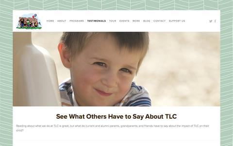 Screenshot of Testimonials Page learningwithtlc.org - Testimonials — TLC Learning Center - captured Feb. 15, 2016