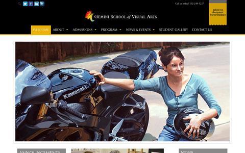 Screenshot of Home Page geminischool.com - WELCOME - Visual Art School | Gemini School of Visual Arts - Austin, TX - captured Oct. 2, 2014