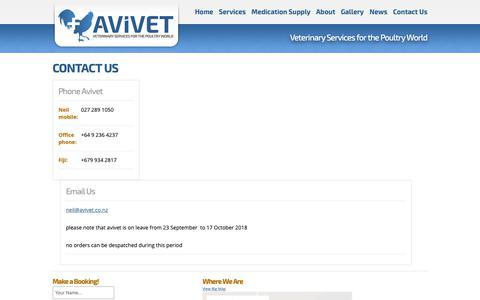 Screenshot of Contact Page avivet.co.nz - Contact Us | Avivet Ltd | Poultry, Fowl, Avian Specialist - captured Oct. 4, 2018