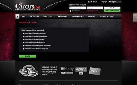 Screenshot of Contact Page circus.be - Customer support - captured Sept. 23, 2014