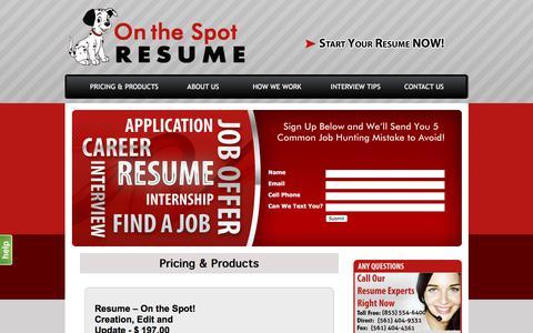 Screenshot of Pricing Page onthespotresume.com - Resume Help to Write - captured Nov. 2, 2017