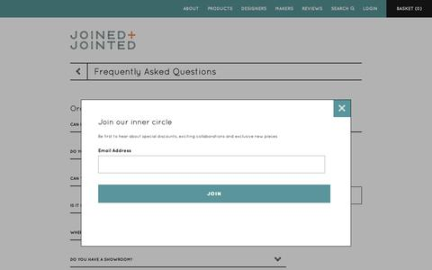 Screenshot of FAQ Page joinedandjointed.com - Frequently Asked Questions - Magento Commerce - captured Oct. 14, 2018