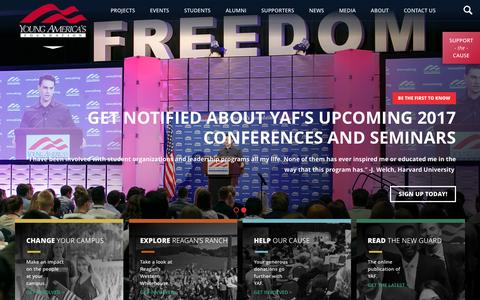 Screenshot of Home Page yaf.org - Young Americas Foundation -The Conservative Movement Starts Here - captured Nov. 28, 2016