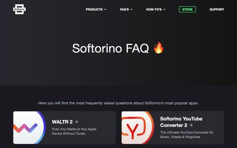 Screenshot of FAQ Page softorino.com - FAQ | Softorino - captured July 21, 2019