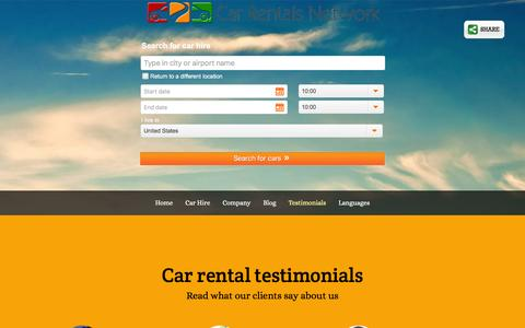 Screenshot of Testimonials Page carrentalsnet.com - Car hire testimonials - Car Rental feedback from our clients - captured March 2, 2016