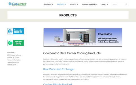 Screenshot of Products Page coolcentric.com - Products - Coolcentric - captured Sept. 29, 2018