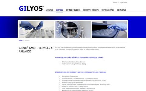 Screenshot of Services Page gilyos.com - SERVICES | GILYOS GmbH - Services at a glance - captured Oct. 1, 2014