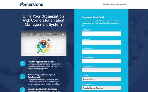 Screenshot of Landing Page cornerstoneondemand.com - Unified Talent Management System | Cornerstone - captured April 3, 2017
