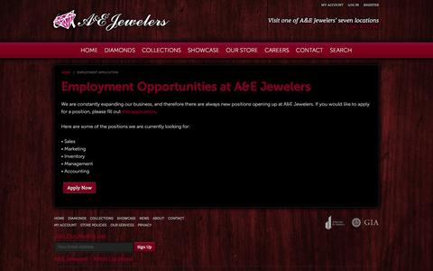 Screenshot of Jobs Page aejewelers.com - Engagement rings, Fashion Jewelry and more. A&E Jewelers, Beginnings Start With Us - captured Dec. 12, 2015