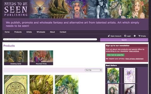 Screenshot of Products Page needstobeseen.com - Products > Home > Wholesale fairy cards and wholesale fantasy cards - Needs to be Seen Publishing - captured Oct. 26, 2014