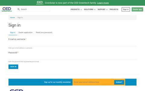 Screenshot of Login Page civicsolar.com - Sign in | CED Greentech - captured Jan. 8, 2020