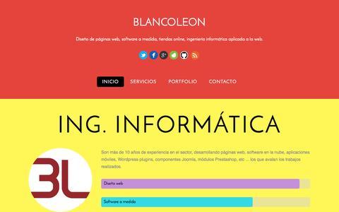 Screenshot of Home Page blancoleon.com - Blancoleon - captured Oct. 5, 2014