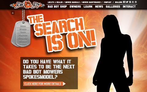 Screenshot of Home Page badboymowers.com - Bad Boy Mowers - captured Sept. 24, 2014