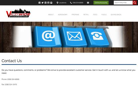 Screenshot of Contact Page valleywidecoop.com - Contact Us   Valley Wide Cooperative - captured Nov. 28, 2016