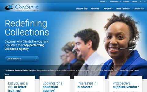Screenshot of Home Page conserve-arm.com - ConServe - Accounts Receivable Management | ConServe - captured July 13, 2019