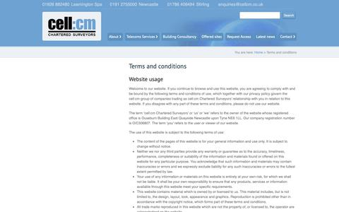 Screenshot of Terms Page cellcm.co.uk - Cell:cm - Chartered Surveyors  |  Terms and conditions - captured Sept. 27, 2018