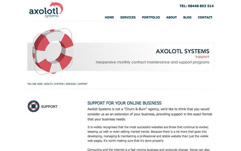 Screenshot of Support Page axolotl-systems.co.uk - Support | Technical & Marketing Support | Axolotl Systems - captured Nov. 21, 2016