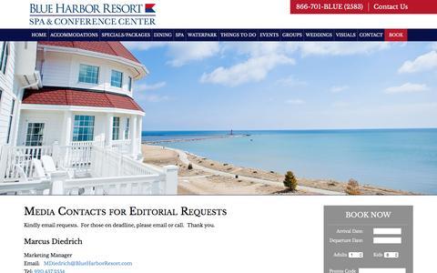Screenshot of Press Page blueharborresort.com - Media | Blue Harbor Resort & Spa | Sheboygan WI - captured Feb. 7, 2016