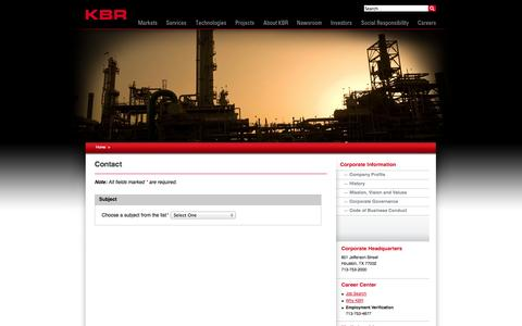 Screenshot of Contact Page kbr.com - Contact | KBR: A Global Engineering, Construction and Services Company - captured Sept. 19, 2014