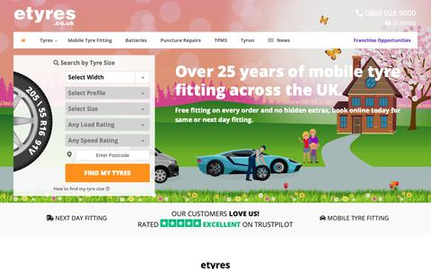 Screenshot of Home Page etyres.co.uk - Buy Car Tyres Online with Free Mobile Tyre Fitting | etyres - captured May 18, 2019
