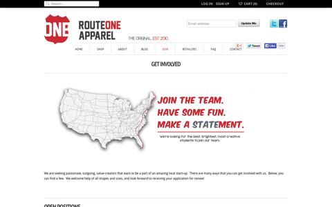 Screenshot of Signup Page routeoneapparel.com - Get Involved | Route One Apparel - captured Sept. 30, 2014