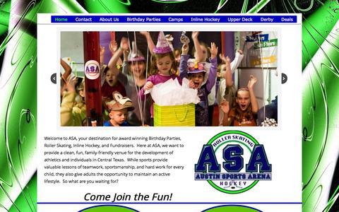 Screenshot of Contact Page austinsportsarena.com - Home - captured Aug. 2, 2015