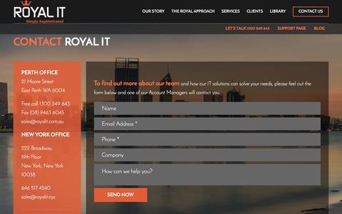 Screenshot of Contact Page royalit.com.au - Contact us - IT Management   Royal IT - captured June 15, 2017