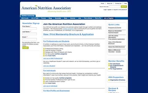 Screenshot of Signup Page americannutritionassociation.org - Join the American Nutrition Association | American Nutrition Association - captured Sept. 25, 2014
