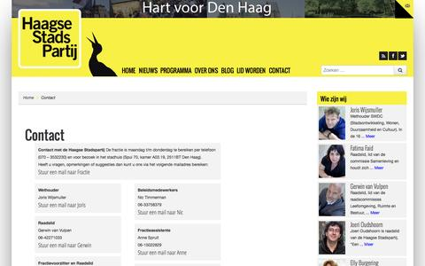 Screenshot of Contact Page haagsestadspartij.nl - Contact | De Haagse Stadspartij - captured Oct. 1, 2014