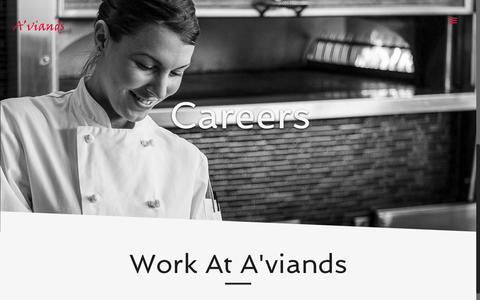 Screenshot of Jobs Page aviands.com - Careers | A'viands - captured Feb. 3, 2016