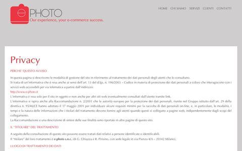 Screenshot of Privacy Page e-photo.it - Privacy | e-photo - captured Oct. 28, 2014