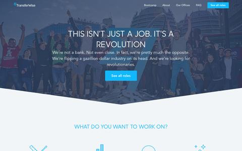 Screenshot of Jobs Page transferwise.com - It's not just a job | TransferWise - captured May 12, 2016