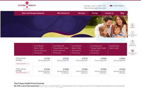 Screenshot of Pricing Page futurehealthbiobank.co.uk - Pricing • Future Health Biobank - captured Feb. 10, 2016