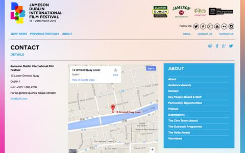 Screenshot of Contact Page jdiff.com - Contact    Festival News, Cinema Listings, Cinema Tickets, Gift Vouchers, Daily Deals   Jameson Dublin International Film Festival - captured Oct. 6, 2014