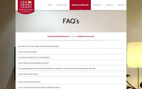 Screenshot of FAQ Page sydenhamcommons.com - FAQ's | Sydenham Commons - Temple University Student Housing - captured Oct. 27, 2014