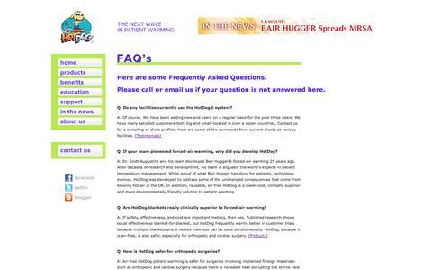 Screenshot of FAQ Page hotdog-usa.com - HotDog Patient Warming | FAQs - captured Sept. 13, 2014
